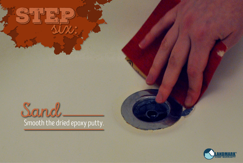 Step Six: Sand the dried expoxy putty.