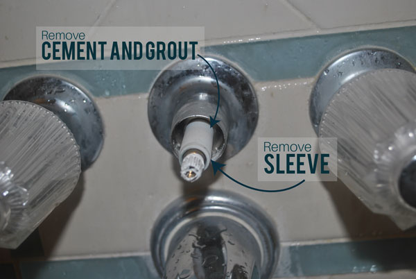 Remove the cement and grout within the diverter valve.