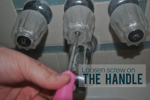 Next, loosen the screw on the handle of the shower's diverter valve.