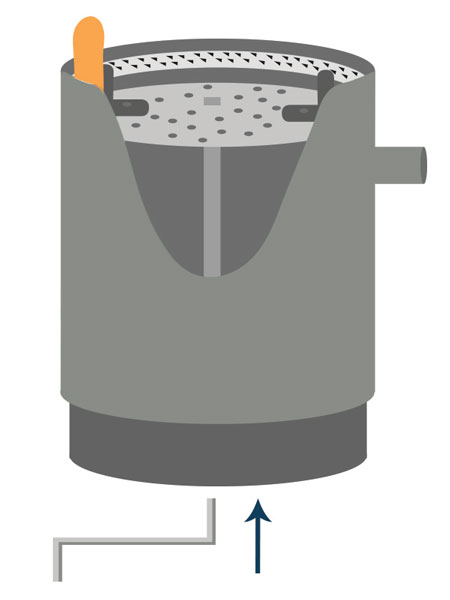Unjam the garbage disposal by inserting Allen wrench into the bottom of the unit.