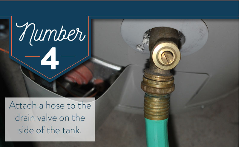 Attach a garden hose to the drain valve on your water heater.