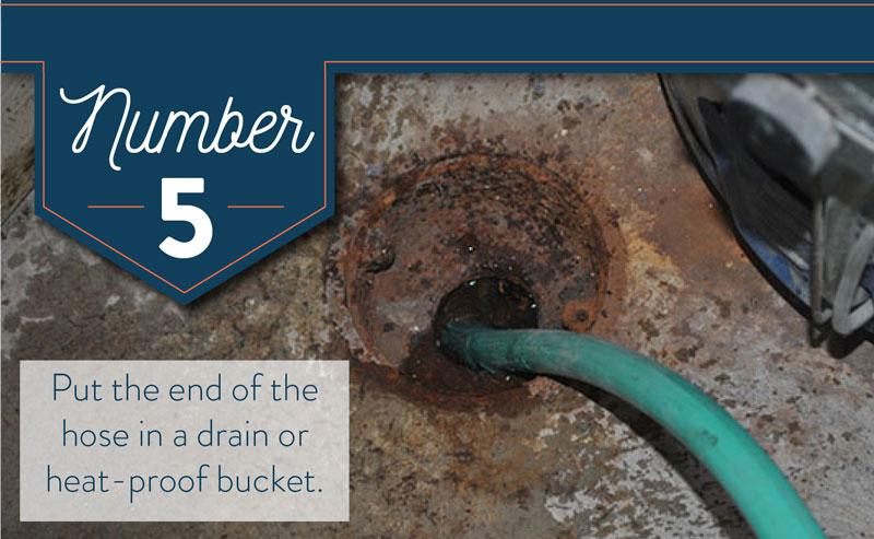 Put the end of the hose in a heat resistant bucket or drain.
