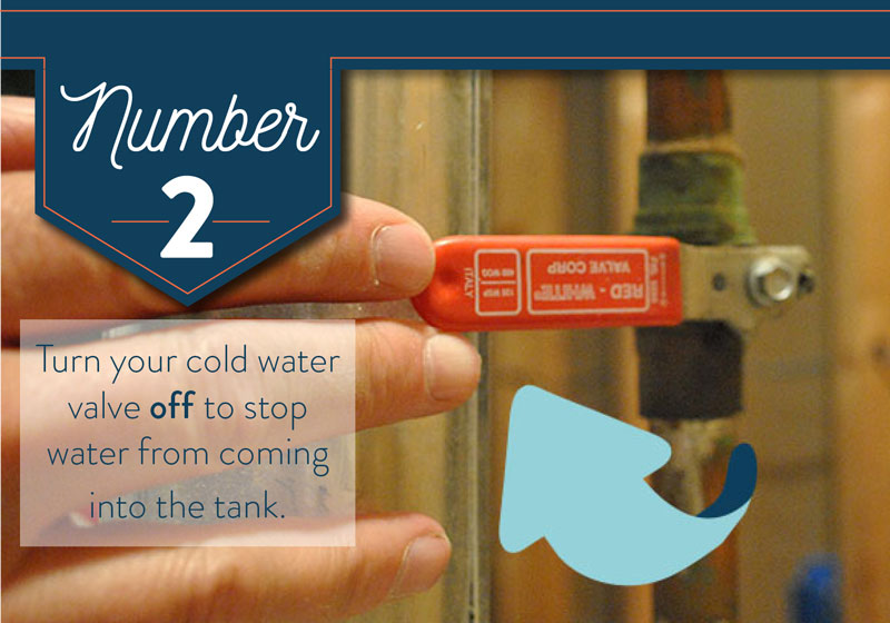 Turn the cold water off to your water heater.