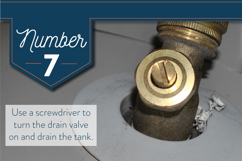Use a screwdriver to open the drain valve on your water heater.